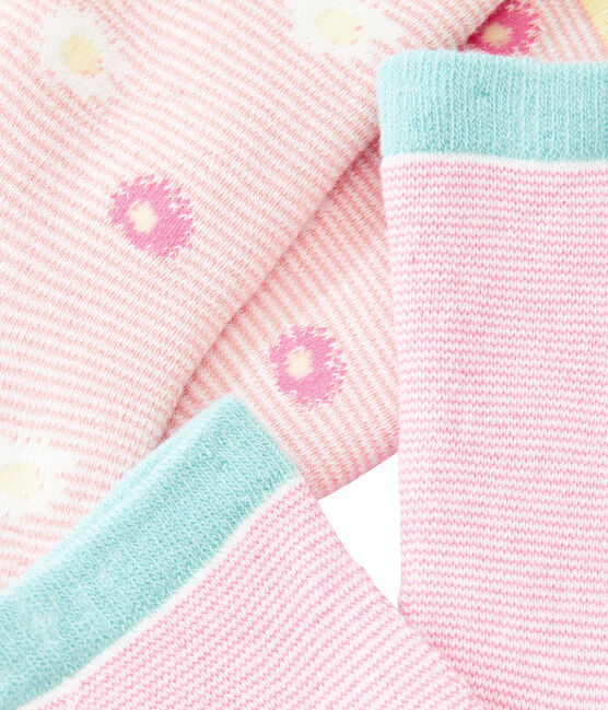 Set of 2 pairs of socks for girls Marshmallow:smoking blue / Marshmallo white