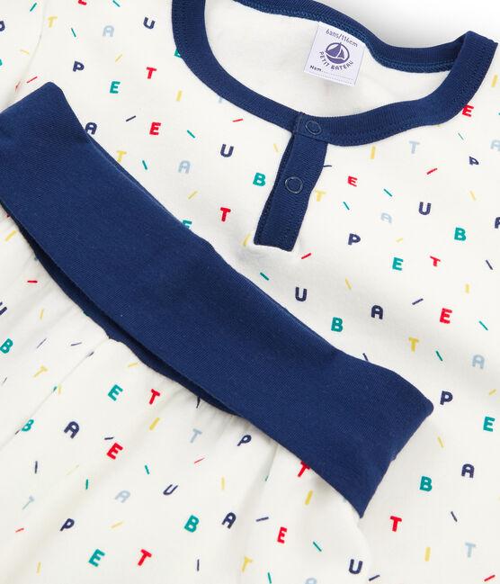 Boys' High-Rise Fleece Pyjamas Marshmallow white / Multico white