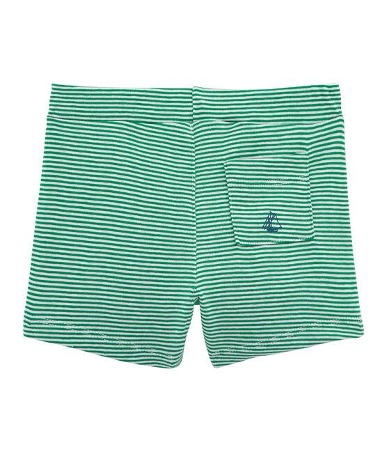 Baby boys' striped shorts Pivert green / Marshmallow white