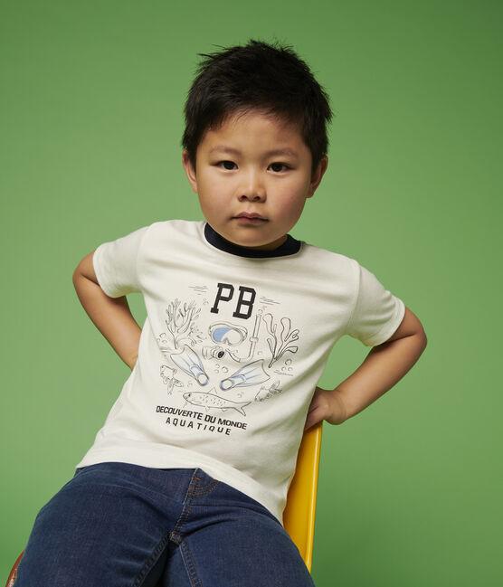 Boys' Short-Sleeved Cotton T-Shirt Marshmallow white