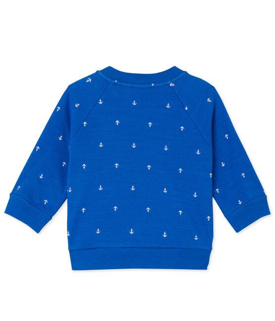 Cardigan bébé garçon en tubique Delft blue / Lait white