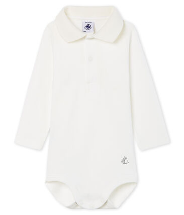 Baby Boys' Long-Sleeved Polo Shirt with Collar Marshmallow Cn white