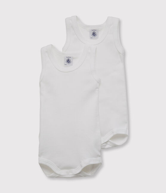 Set of 2 baby boys' sleeveless white bodysuits . set