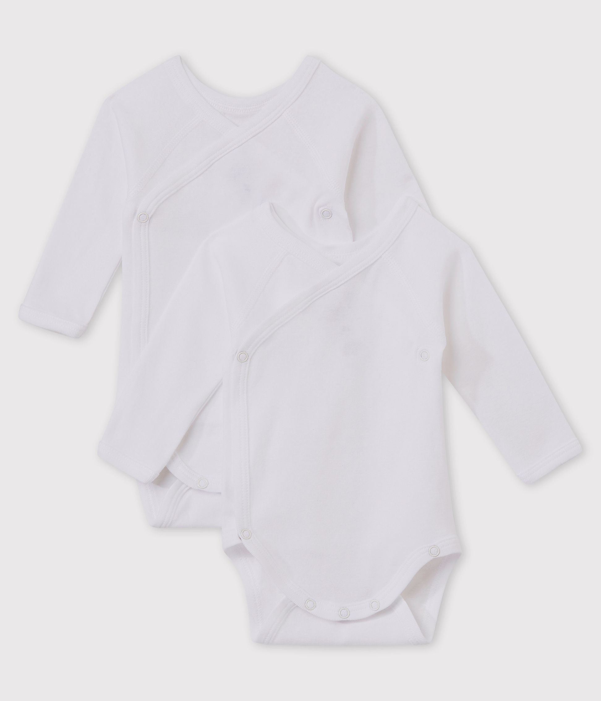 Babies' White Long-sleeved Wrapover Organic Cotton Bodysuits - 2-Pack