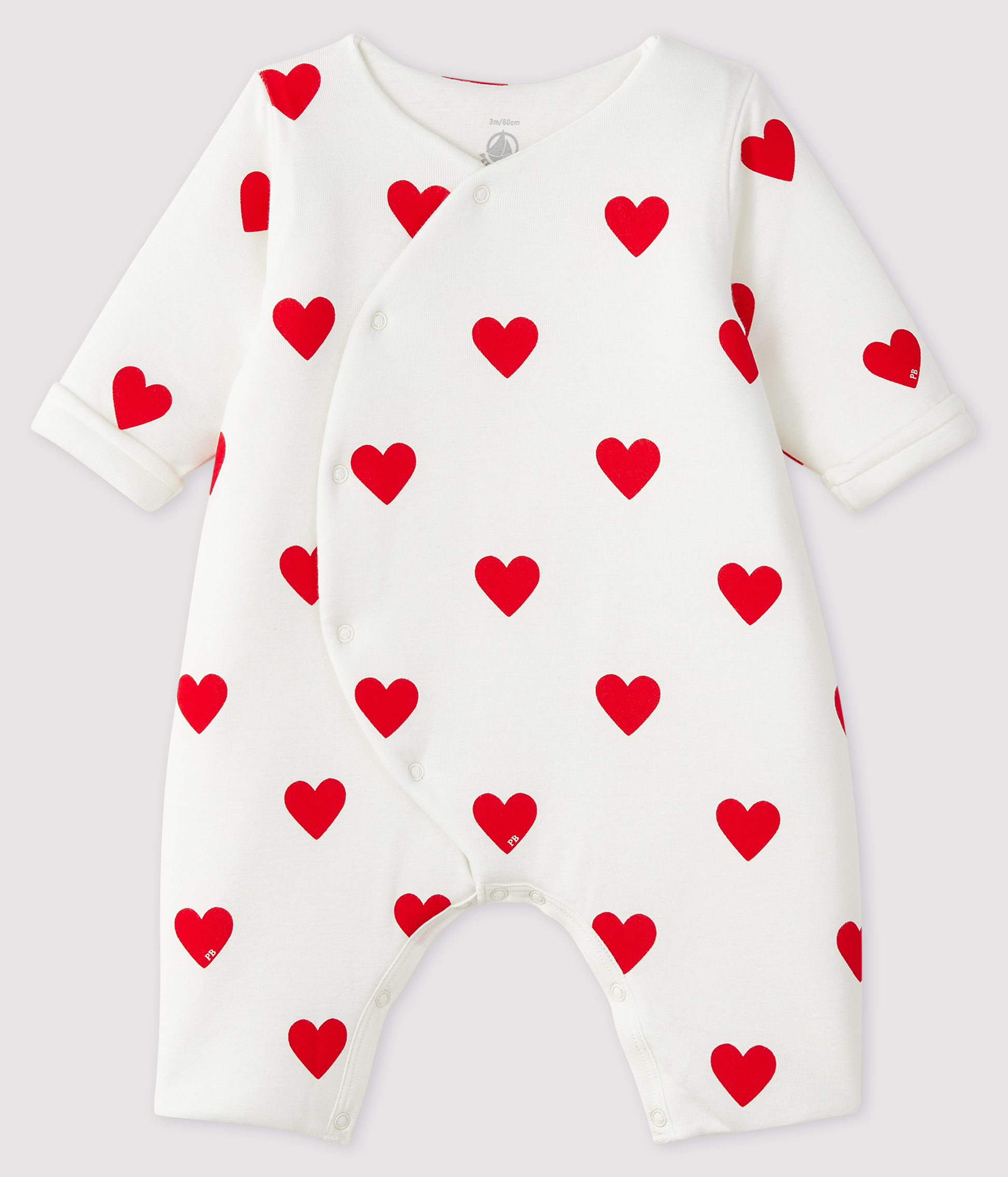 Baby Girls' Long Ribbed Red Heart Jumpsuit