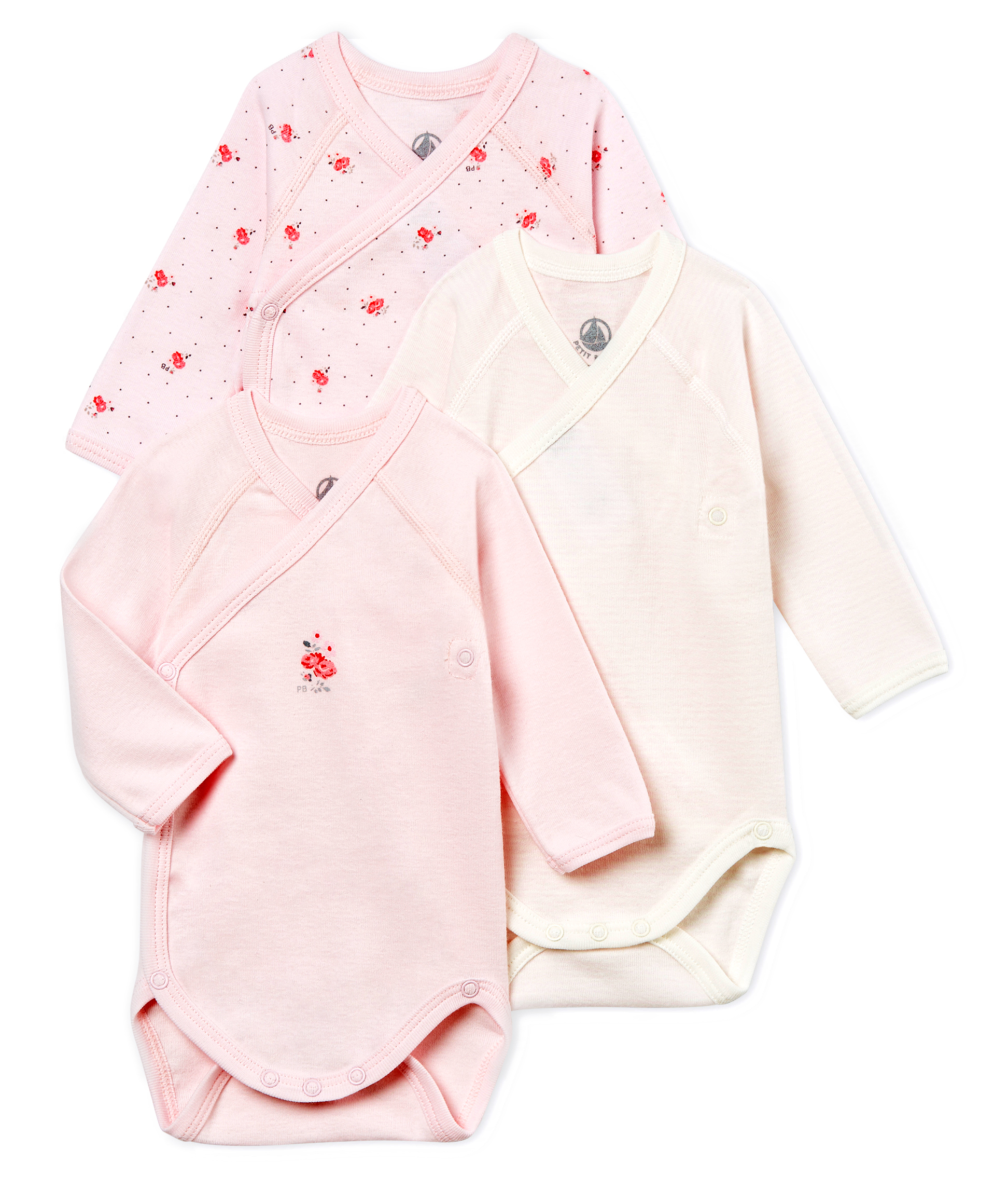 7da3b5c9a Unisex newborn baby long-sleeved bodysuit - 3-piece set | Petit Bateau