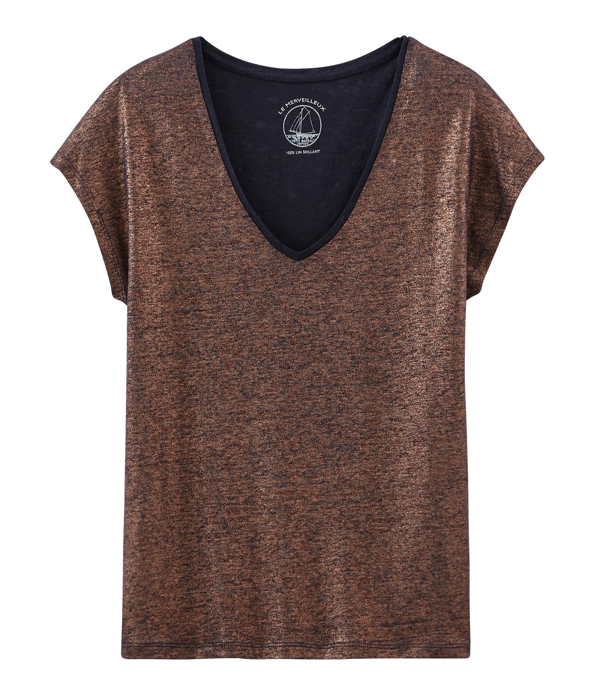5d9b3144be3a Women s iridescent linen short-sleeved t-shirt