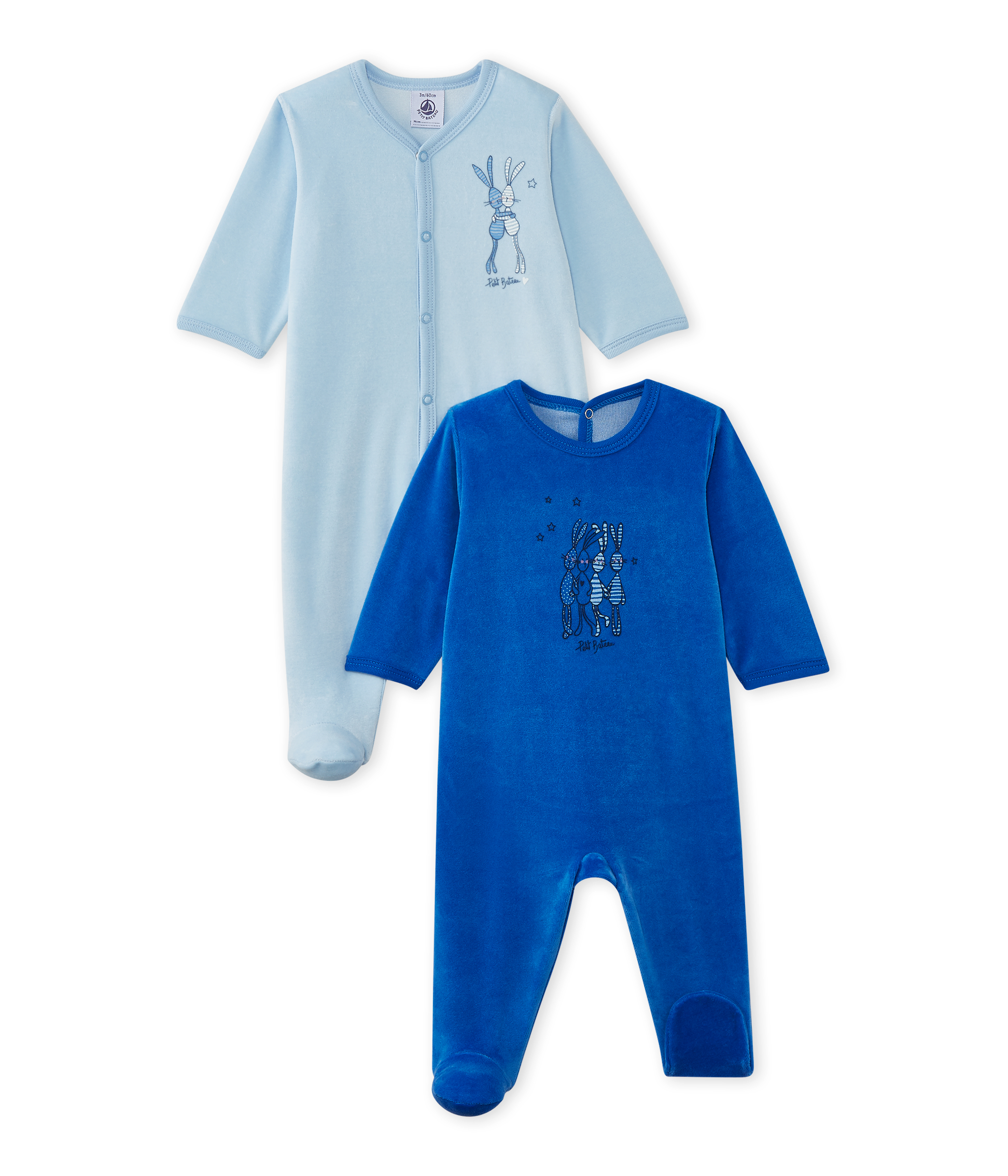 d1dddf65ad9 Set of 2 baby girl's velour sleepsuits | Petit Bateau