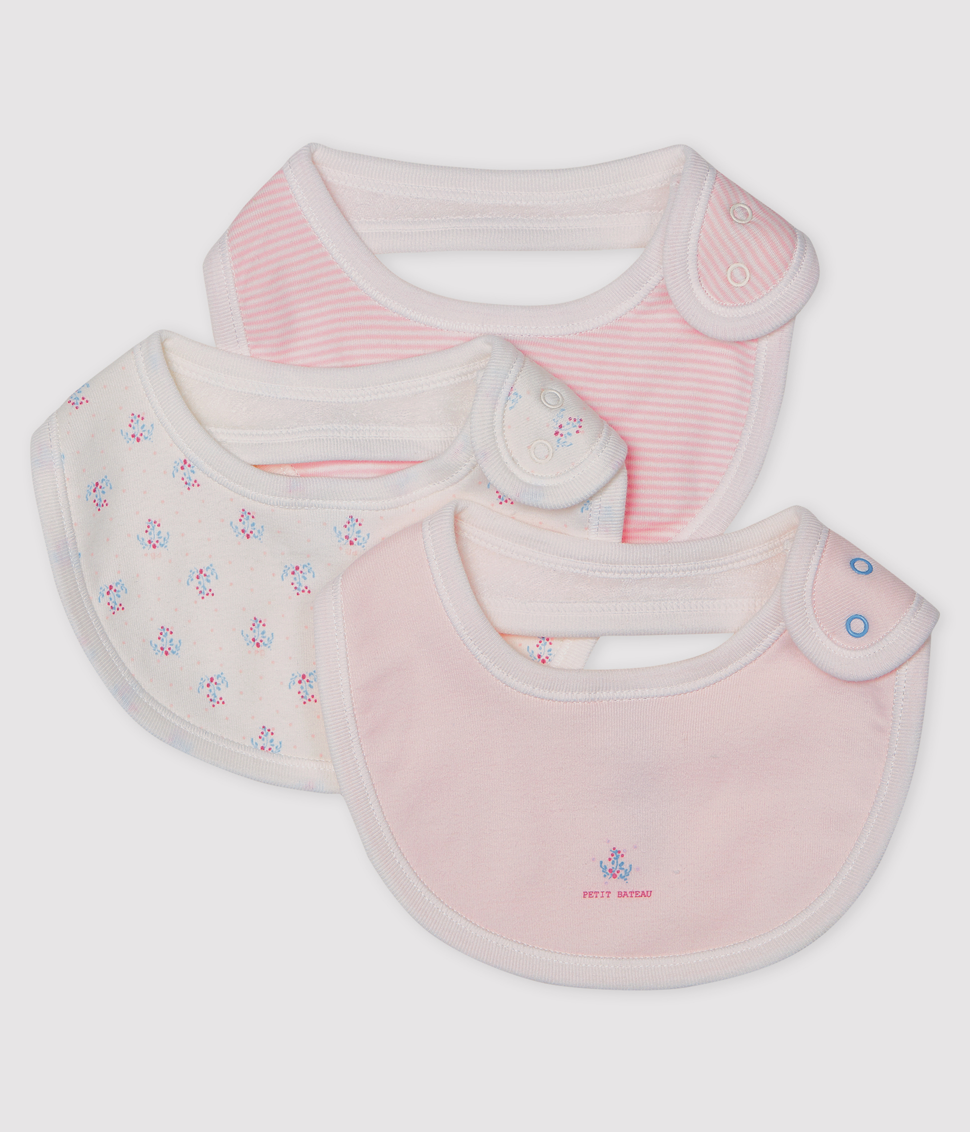 Baby Girls' Rib Knit Bibs - 3-Piece Set