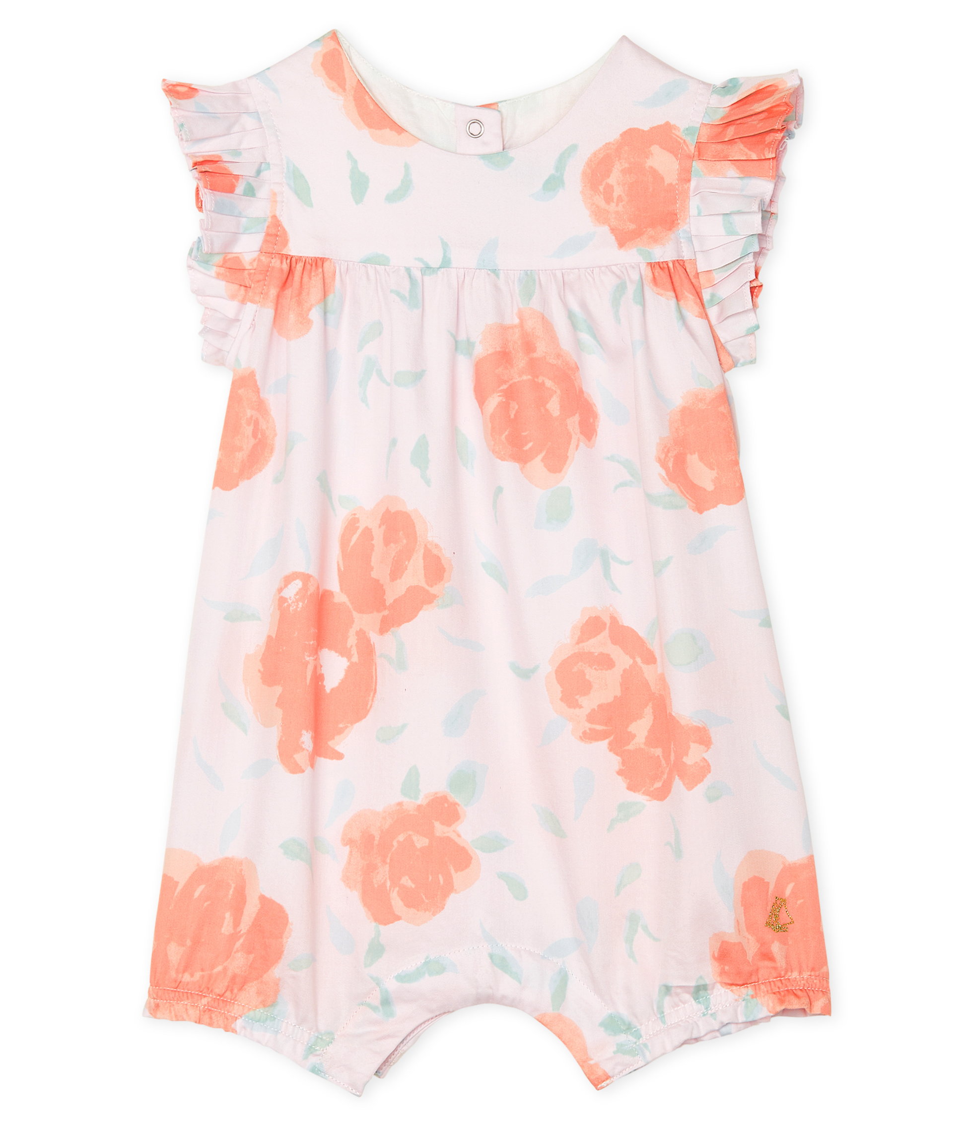 Print satin playsuit for baby girls