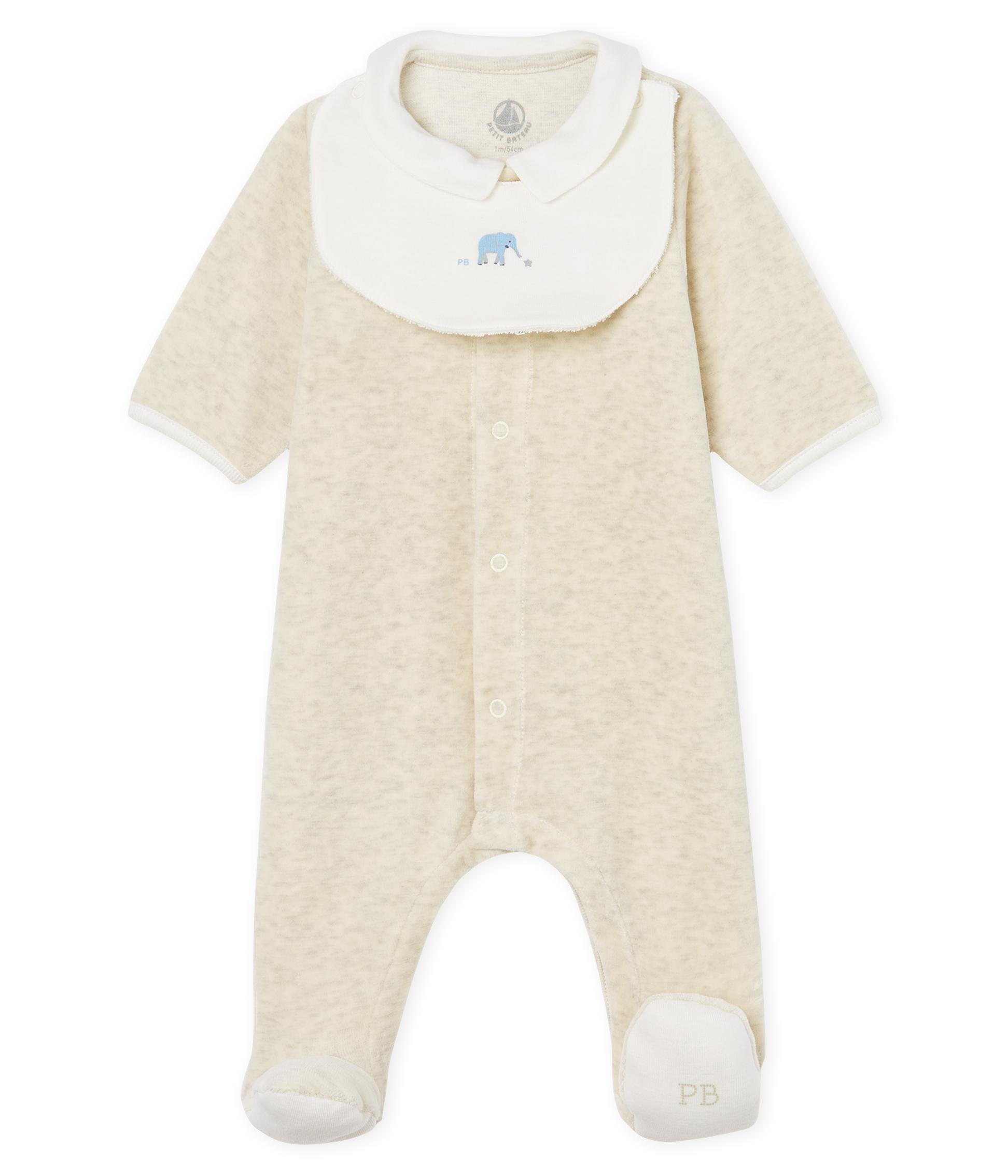 9751bfba5 Unisex baby sleepsuit and bib in cotton velour