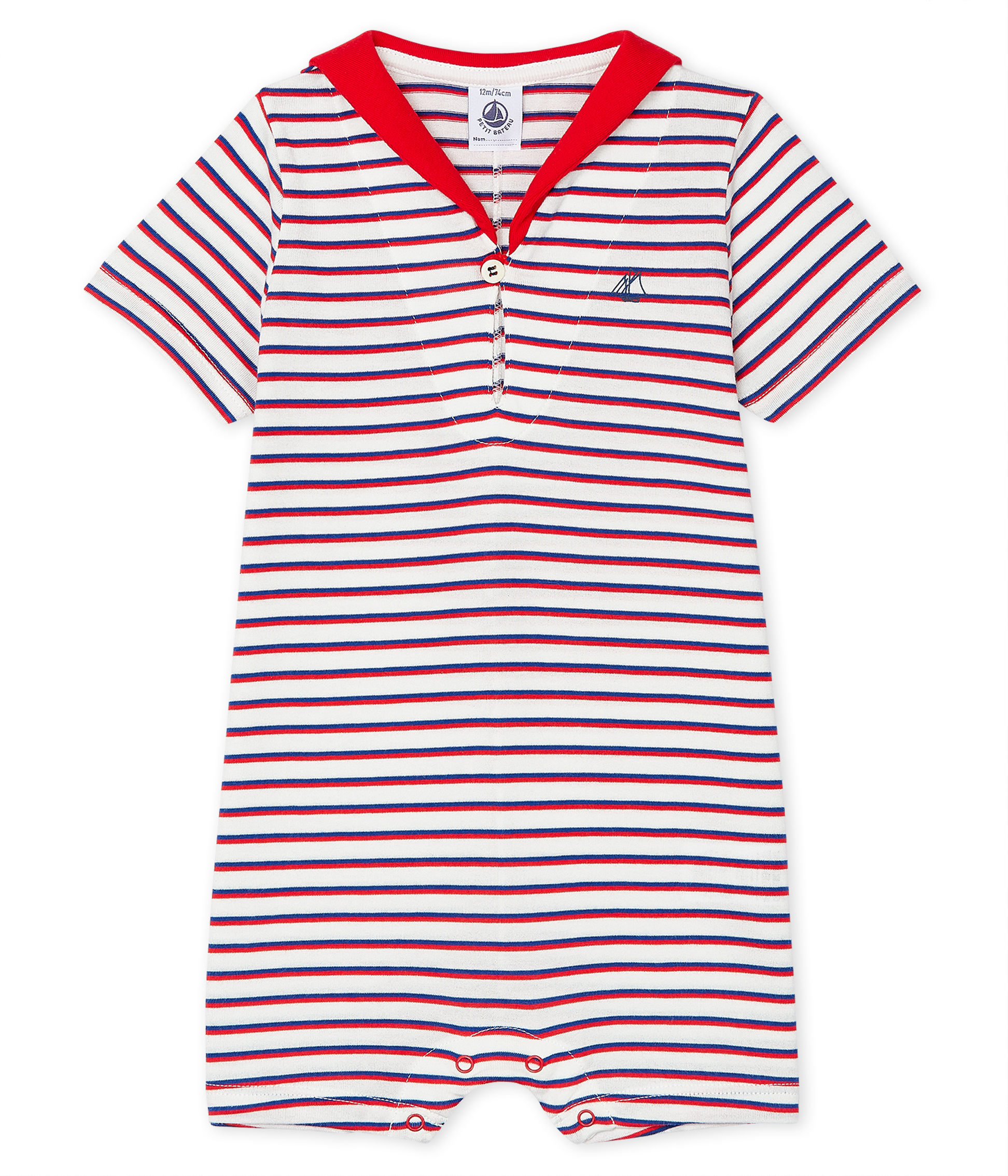 Stripy playsuit for baby boys