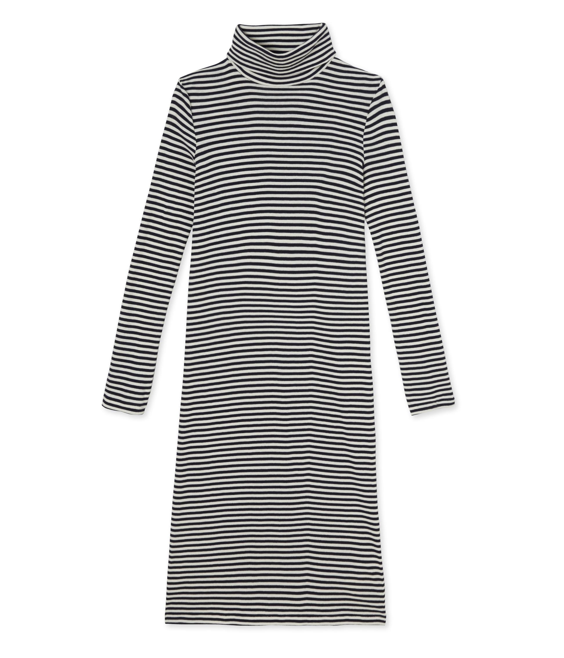 c1e8a7b274e791 Women's striped roll-neck dress in ultra light cotton   Petit Bateau