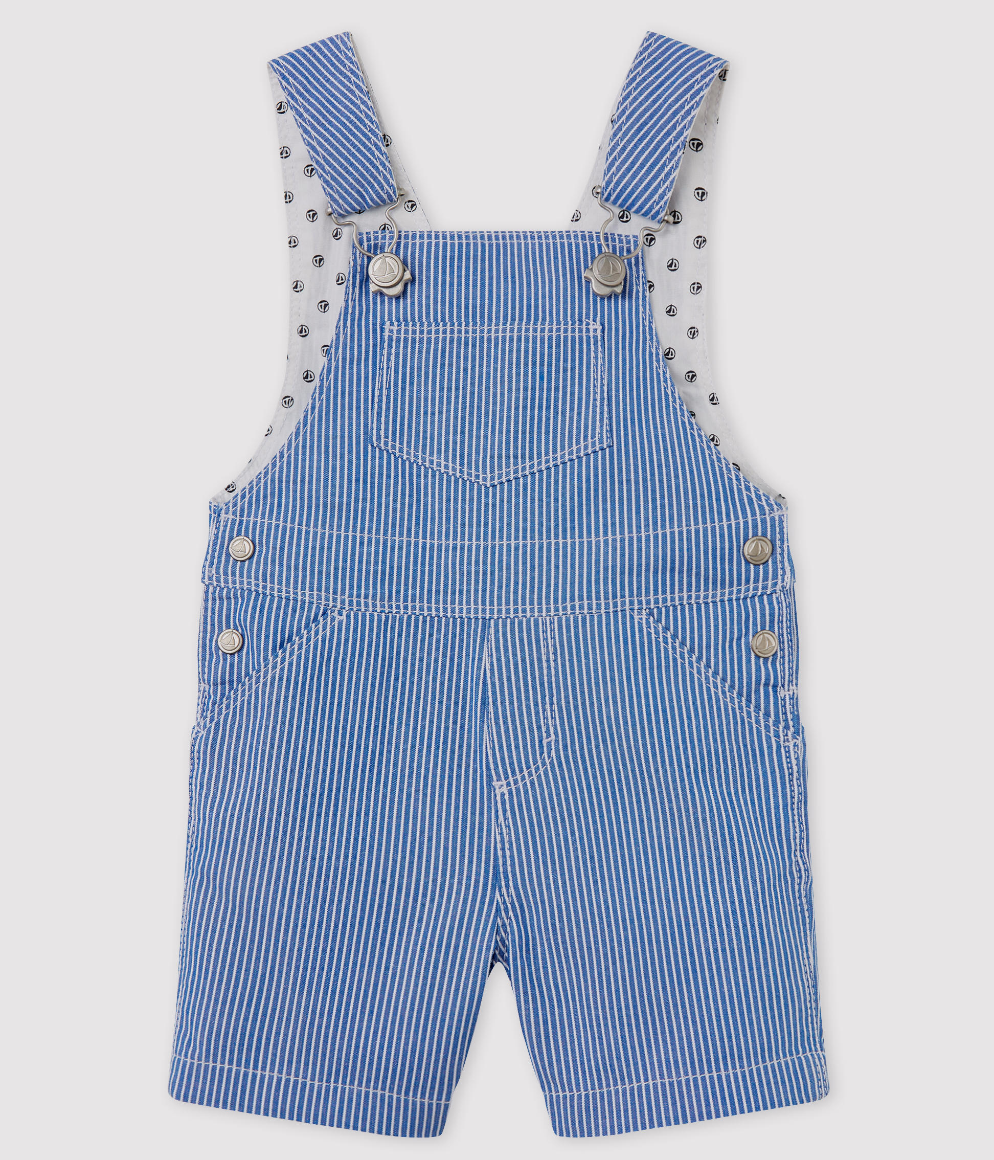 Unisex Baby's Striped Short Dungarees