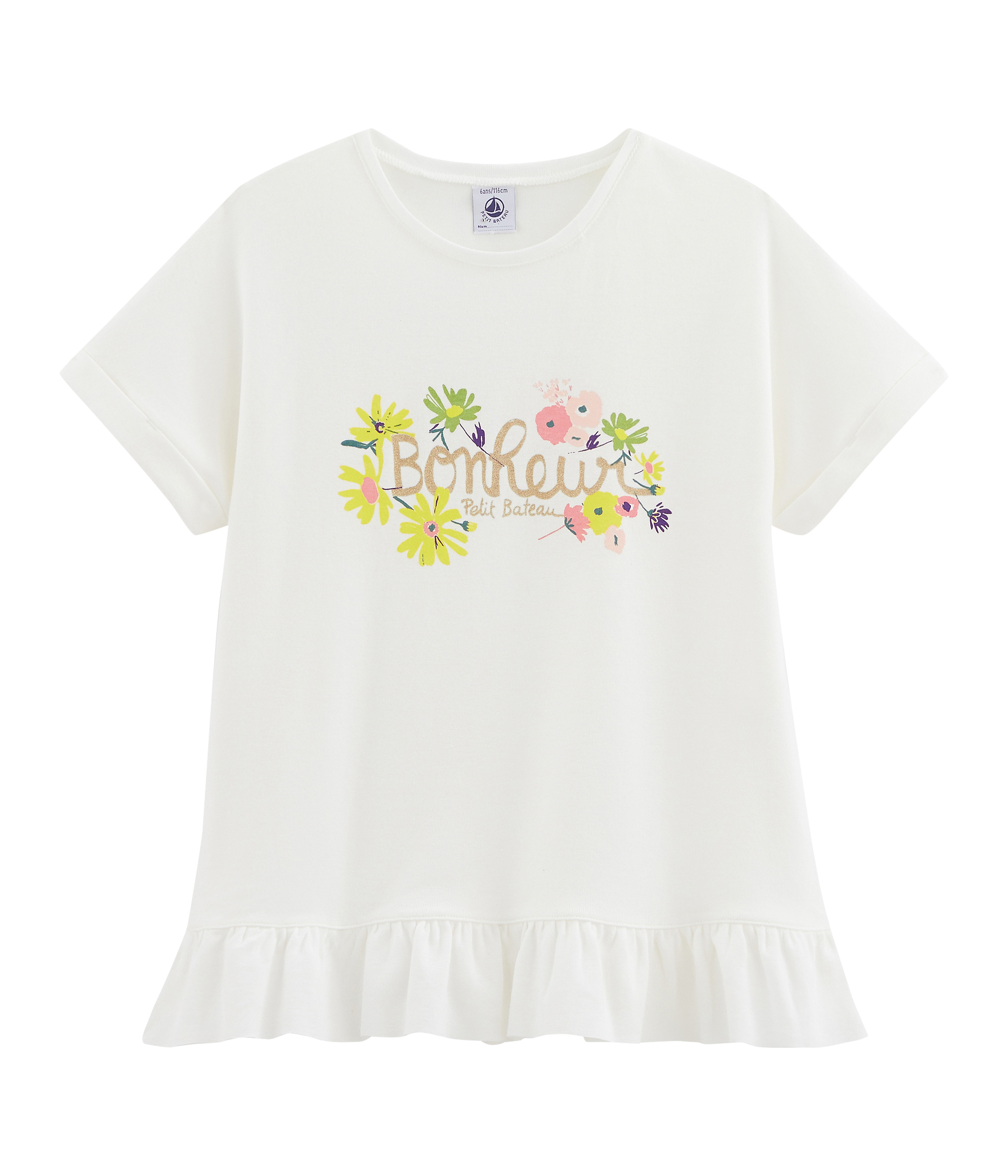 Loyalt Summer Childrens Girls Short Sleeve Solid Color Clothes Pleated Top T-Shirt
