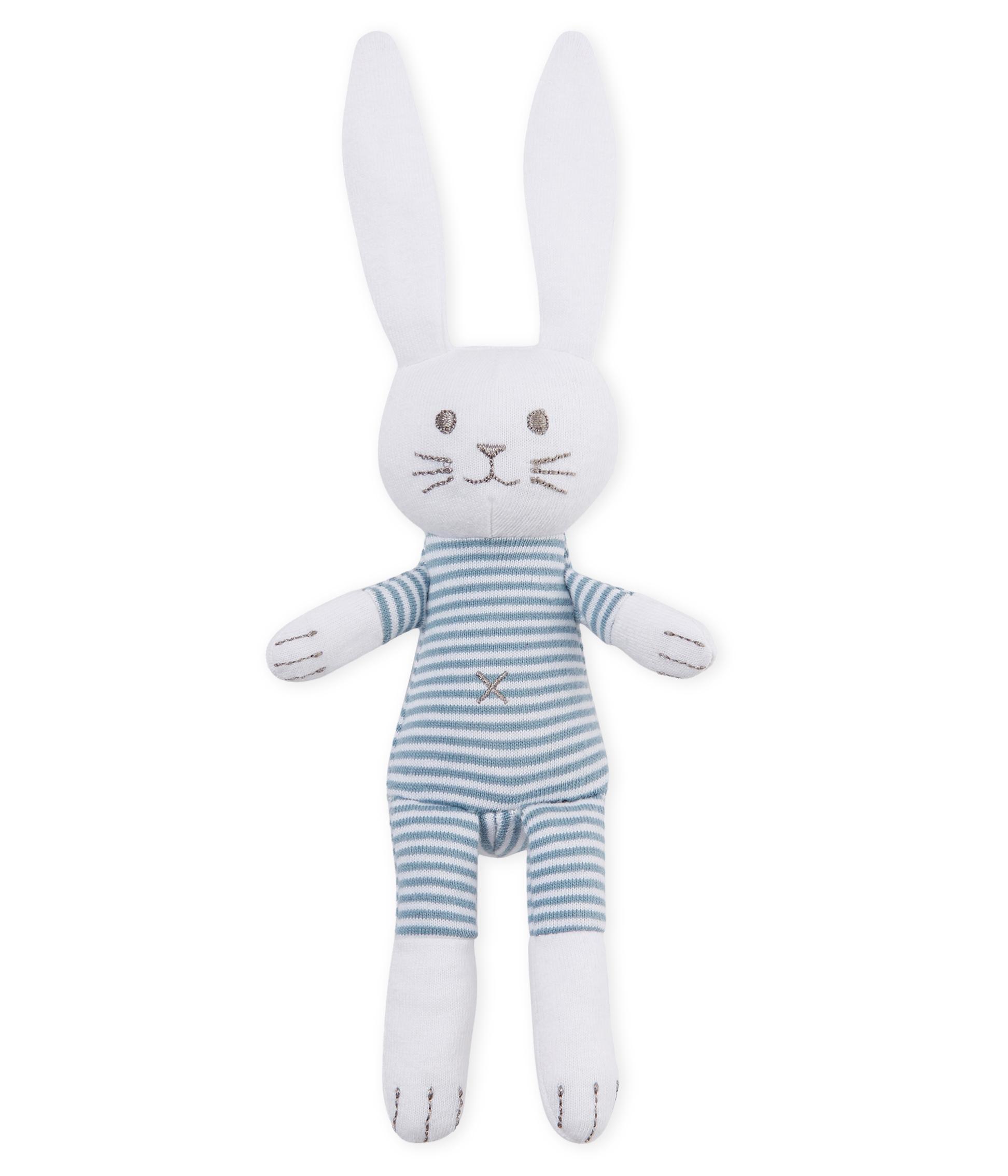 Uniseks Babykleding.Unisex Baby Rabbit Rattle Comforter Petit Bateau