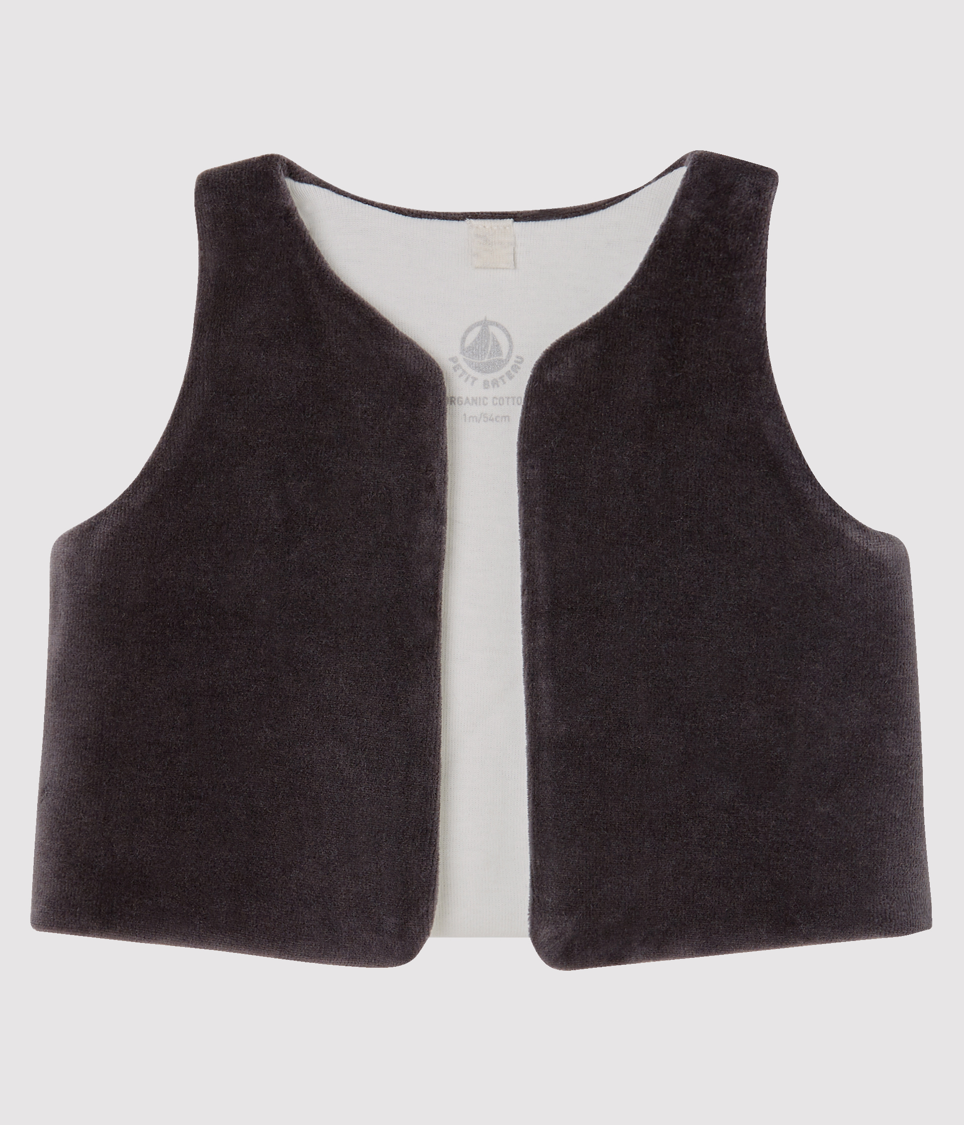 Babies' Sleeveless Velour Cardigan