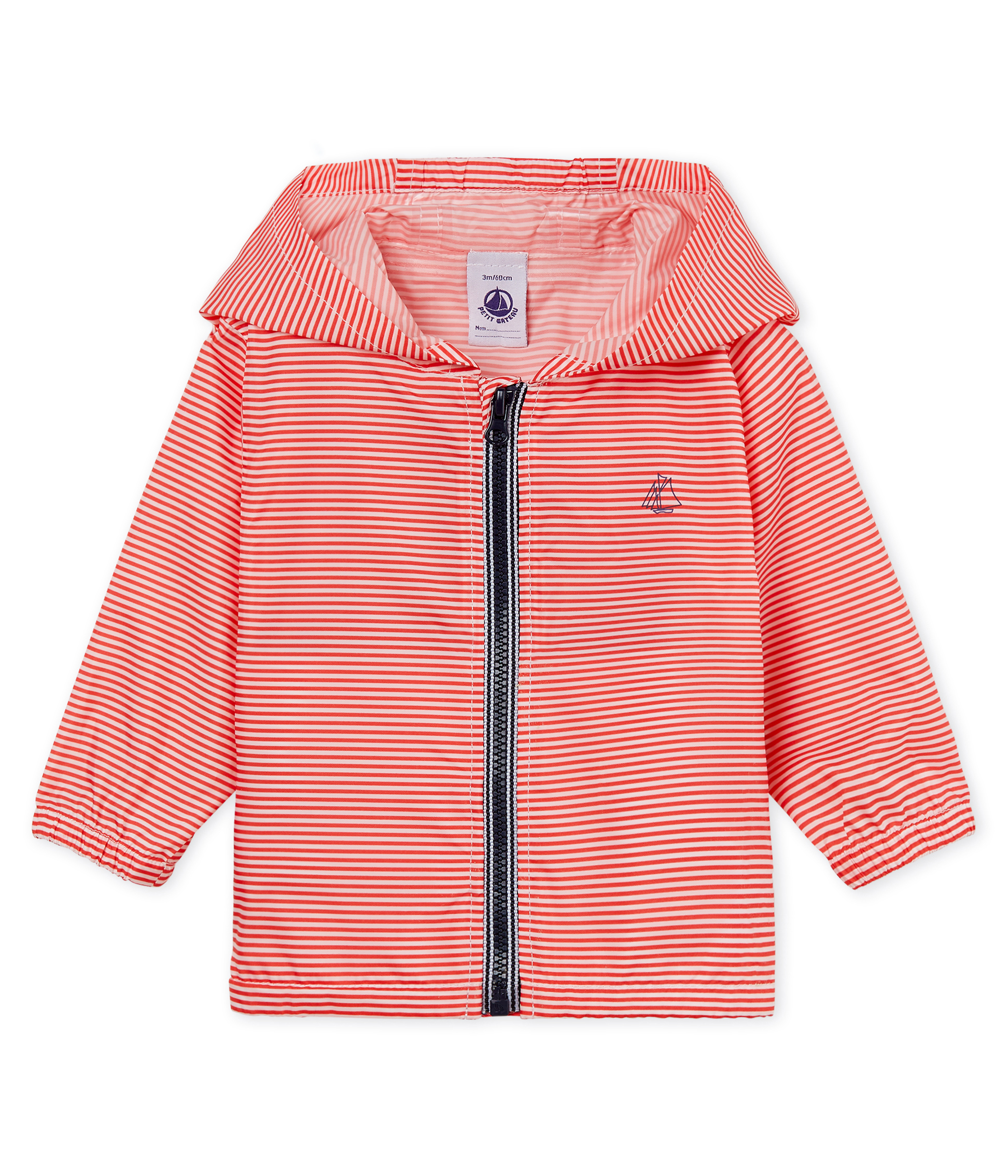 Unisex stripy windbreaker for babies